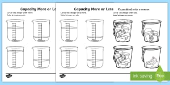 Capacity More or Less Activity Sheet English/Spanish - Capacity Matching Cards EYFS - capacity, maths, numeracy, matching cards, match, cards, eyfs, capact