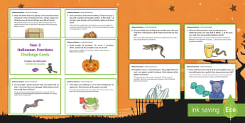 Year 3 Halloween Fractions Challenge Cards English/Portuguese - Halloween, october, festival, autumn, celebration, spooky, ghosts, witch, zombies, challenge cards,