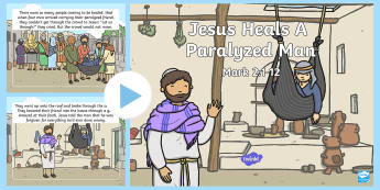 Jesus Heals A Paralyzed Man PowerPoint - Miracles of Jesus, Heal, Paralyzed, Paralysed, New Testament, Story, Bible, Disciples