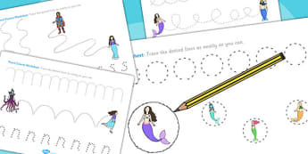 The Little Mermaid Pencil Control Sheets - fine motor skills