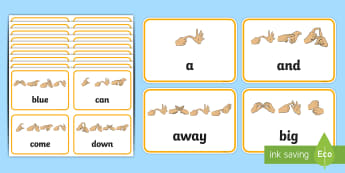 Pre Primer Dolch List Sight Words with Fingerspelling Flashcards - high frequency, British sign language, manual alphabet, developing reading, widening vocabulary, bui