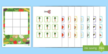 Three in a Row Vegetables Activity - EYLF, Foundation, Game, Numeracy, Problem Solving, Counting, carrot, sweetcorn, sweet potato, onion,
