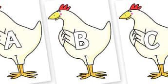 A-Z Alphabet on Hullabaloo Chicken to Support Teaching on Farmyard Hullabaloo - A-Z, A4, display, Alphabet frieze, Display letters, Letter posters, A-Z letters, Alphabet flashcards