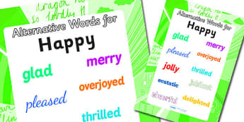Alternative Words For Happy Display Poster (Large) - alternative words poster, alternative words for happy, synonym posters, powerful words, better words