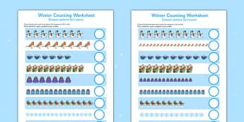 Winter Counting Sheet Up to 20 Polish Translation - polish, winter, counting, sheet, up to, 20