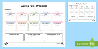 KS2 Weekly Pupil Mindfulness Organiser Activity Sheet - Growth Mindset, Achievements, Goals, Planner, worksheet, organisation, reflection, self-assessment