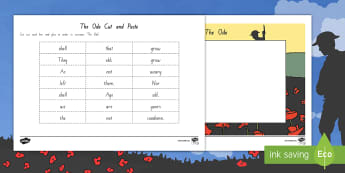 The Ode Cut and Paste Activity Sheet - New Zealand, Anzac Day, 25 April, ANZAC, Poppies, World War 1, World War 2, Gallipoli, The Ode Poem,