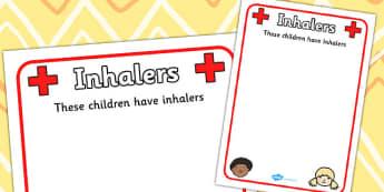 Pupil Inhalers Information Poster - inhalter, inhalters, allergy, allergy information, allergies, pupil information, pupils, poster, sign, sheet, display