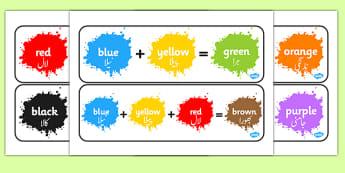 Colour Mixing Pack Urdu Translation - urdu, Colour posters, Colouring mixing, mix, colour, display, poster, posters, black, white, red, green, blue, yellow, orange, purple, pink, brown