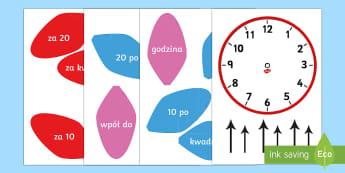 Zegar analogowy Kwiat - analogowy, zegar, zegarek, czas, godzina, podawanie, czasu, wpół, za piętnaście, za kwadrans, an