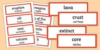 Tarjetas bilingües de vocabulario de volcanes en inglés - volcán, volcano, inglés, bilingüe, tarjeta, vocabulario