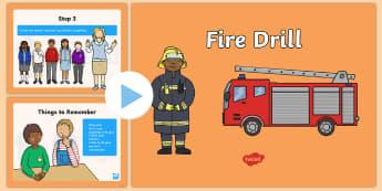 Fire Drill PowerPoint - Beginning of School Resources, back to school, fire, drill, fire drill, emergency, protocol, powerpo
