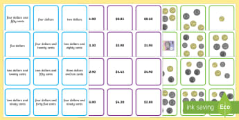 Australian Money to $5 Matching Cards - reading numbers, money, $5, coin combinations, recognising coins, adding coins, Australian money, mo