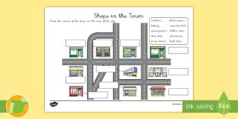 Ficha de actividad: Las tiendas de la ciudad - Inglés - shops, town, english, lengua extranjera,Spanish-translation