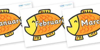 Months of the Year on Goldfish to Support Teaching on Brown Bear, Brown Bear - Months of the Year, Months poster, Months display, display, poster, frieze, Months, month, January, February, March, April, May, June, July, August, September