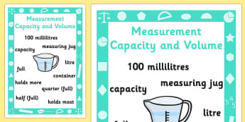 Key Stage 1 Measurement Capacity and Volume Poster - Measure, Volume