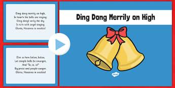 Ding Dong Merrily on High Christmas Carol Lyrics PowerPoint - ding dong merrily on high, christmas carol