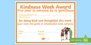 Kindness Week Certificate English/French - kindness week, twinkl kindness week, kind resources, EAL French