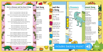 Dinosaur Songs and Rhymes Resource Pack to Support Teaching on Harry and the Bucketful of Dinosaurs  - Harry and the Bucketful of Dinosaurs, Ian Whybrow, singing, song time, dinosaurs, prehistoric