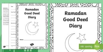 Ramadan Good Deed Diary Writing Template - Ramadan, Bahrain, Good, Deeds, Diary, Charity, charitable, giving, thinking of others