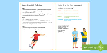 Rugby: Drop Kick Techniques Card - Rugby, KS3, KS4, Technique,Kicking, Drop kick, peer and self assessment