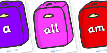 Foundation Stage 2 Keywords on Suitcases - FS2, CLL, keywords, Communication language and literacy,  Display, Key words, high frequency words, foundation stage literacy, DfES Letters and Sounds, Letters and Sounds, spelling