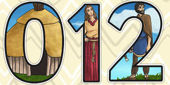 Bronze Age Themed A4 Display Numbers - bronze age, history, KS2