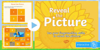 Reveal the Summer Themed Picture with Fingerspelling Activity PowerPoint - Manual alphabet, fingerspelling quiz, practice, deaf, communication, signing, summer, end of year ac