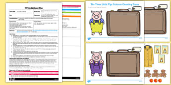 The Three Little Pigs Suitcase Counting Game EYFS Adult Input Plan and Resource Pack - three little pigs