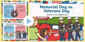 Memorial Day vs. Veterans Day PowerPoint - Veterans Day, Memorial Day, Soldiers, Veterans, Holidays