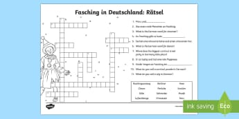 Carnival in Germany Crossword - Carnival in Germany, Fasching, Fastnacht,Karneval, German