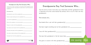 Grandparents Day Find Someone Who Activity - family, grandmother, grandfather, September, getting to know you, friends, questioning, investigate