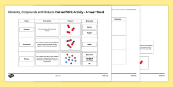 Elements, Compounds and Mixtures Cut and Stick Activity Sheet, worksheet, plenary activity