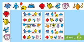 Mr. Men and Little Miss Various Display Border Pack - Roger Hargreaves, Mr. Strong, Little Miss Sunshine, Mr. Bump, Little Miss Chatterbox, Mr. Tickle, Mr