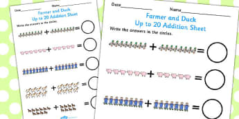 Farmer and Duck Up to 20 Addition Sheet - farmer duck, up to 20, addition sheet, farmer duck addition sheet, 0-20, adding, numeracy, maths, themed addition