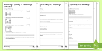 Expressing a Quantity as a Percentage of Another Differentiated Activity Sheets - fractions, a01, a02, a03, using applying, reasoning fluency, problem solving