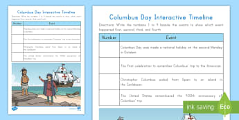 Columbus Day Interactive Timeline Activity - Christopher Columbus, Columbus Day, Explorer, Fall, October