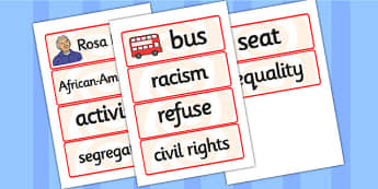 Rosa Parks Word Cards - rosa parks, word cards, topic cards, themed word cards, themed topic cards, key words, key word cards, keyword, writing aid, cards