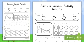 Summer Number Five Activity Sheet - Summer, summer season, first day of summer, summer vacation, summertime, number recognition, number