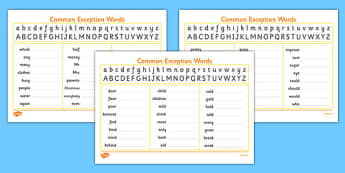 Handwriting Strip With Year 2 Common Exception Words Practice - handwriting, hand writing, letter, formation, practise, practising, letters, words, common, tricky, ks1, key stage 1, y2, y 2, write, learn, 2014, curriculum