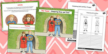 Comparing Rose and Jack Differentiated Lesson Teaching Pack (Flipchart) to Support Teaching on The Tunnel