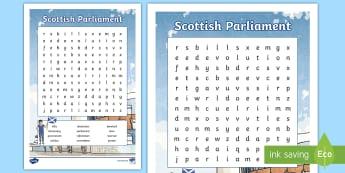 Scottish Parliament Word Search - Democracy, Devolution, independence, activity, Scottish politics,Scottish
