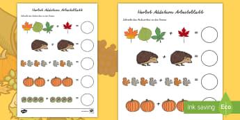 Herbst Addition Arbeitsblatt - Herbstlich, Mathe, Addieren, Jahreszeiten, Plus, zusammenzählen,,German