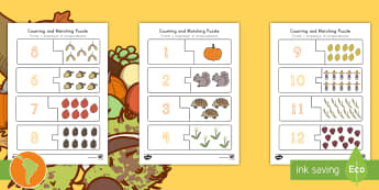 Fall-Themed Counting Puzzle US English/Spanish (Latin) - seasons, weather, count, math, eal, esl, spansih, translation