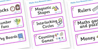 Flamingo Themed Editable Maths Area Resource Labels - Themed maths resource labels, maths area resources, Label template, Resource Label, Name Labels, Editable Labels, Drawer Labels, KS1 Labels, Foundation Labels, Foundation Stage Labels, Teaching La
