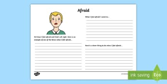 Feeling Afraid Reflection Writing Template - feelings, emotions, P.S.H.E., reflection, writing template, activity sheet, actions, consequences, a