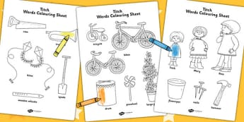 Words Colouring Sheet to Support Teaching on Titch - colour in, stories, story books