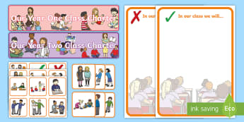 KS1 Our Class Charter Display Pack - rules, behaviour, expectations, display resources, back to school