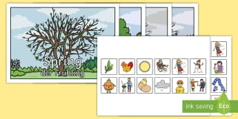 Seasonal Pictures Cut and Stick Activity English/German - EAL, German, Seasonal Pictures Cut and Stick Activity - seasonal picture, cut and stick, activities,
