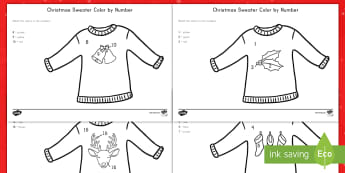 Christmas Sweater Color By Number Activity - Christmas, color, by number, activity, sweater